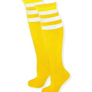 Bright knit hi rise Yellow sunny sock kitschy pair